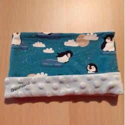 Snood pingouins + bleu ciel...